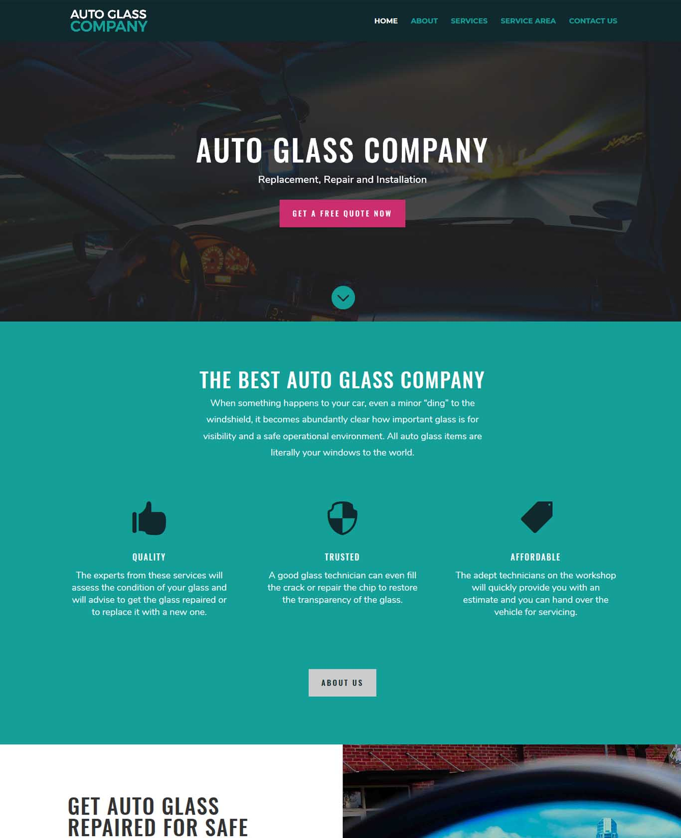 Professional Auto Glass Websites Work Sample